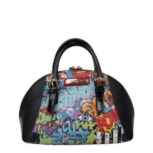 NL STREET STYLE GRAFFITI- PRINT MINI BOWLER BAG